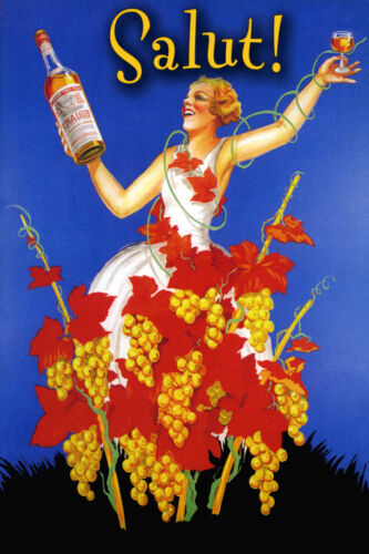 Salut Wine Bar Fashion Lady Kina Lillet Vintage Poster Repro FREE S//H in USA