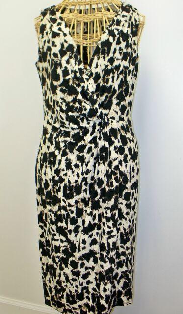 Ralph Lauren Twisted Waist Sheath Dress Womens 6 Black Cream NEW