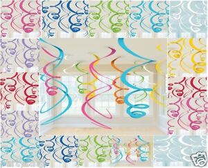 12-Hanging-Party-Swirl-Red-Pink-Blue-Green-Black-Gold-Purple-White-Decorations