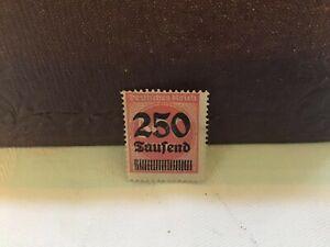 Deutrches-Reich-German-Empire-1923-Overprinted-Stamp-250-Saufend-500-Orange