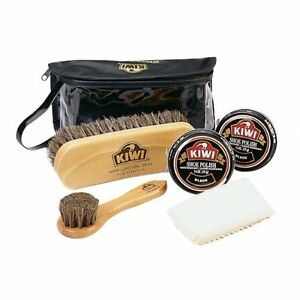 KIWI-Travel-Shoe-Boot-Shine-Polish-Leather-Care-Kit-Valet-6-Piece