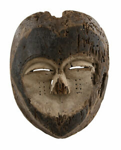Antik Maske Lega Pangi Kivu Kongo Rdc Stammes- Art Primitive Afro Selten 17080