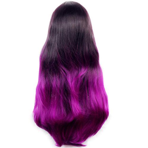 Wiwigs Long Wavy Dip-Dye Ombre Ladies Wig Black Brown /& Purple Red
