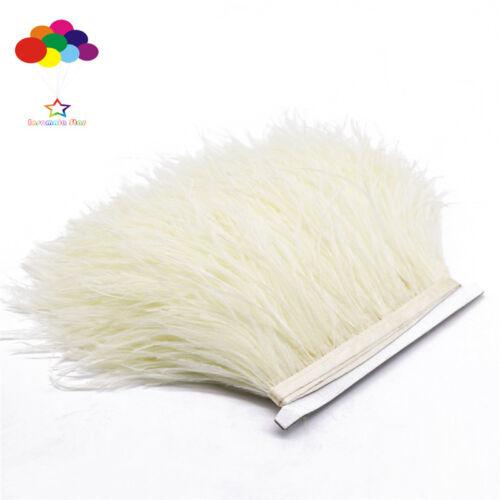 Creamy-White 1//5//10 Meter Straußenfeder Tuch Formteile 8-15.2cm//8-15cm Karneval