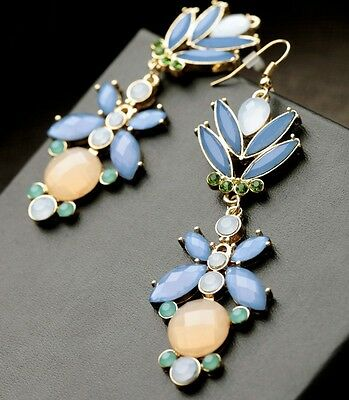 Fashion Charming Resin Crystal Nice Flower Statement Hook Dangle Earring