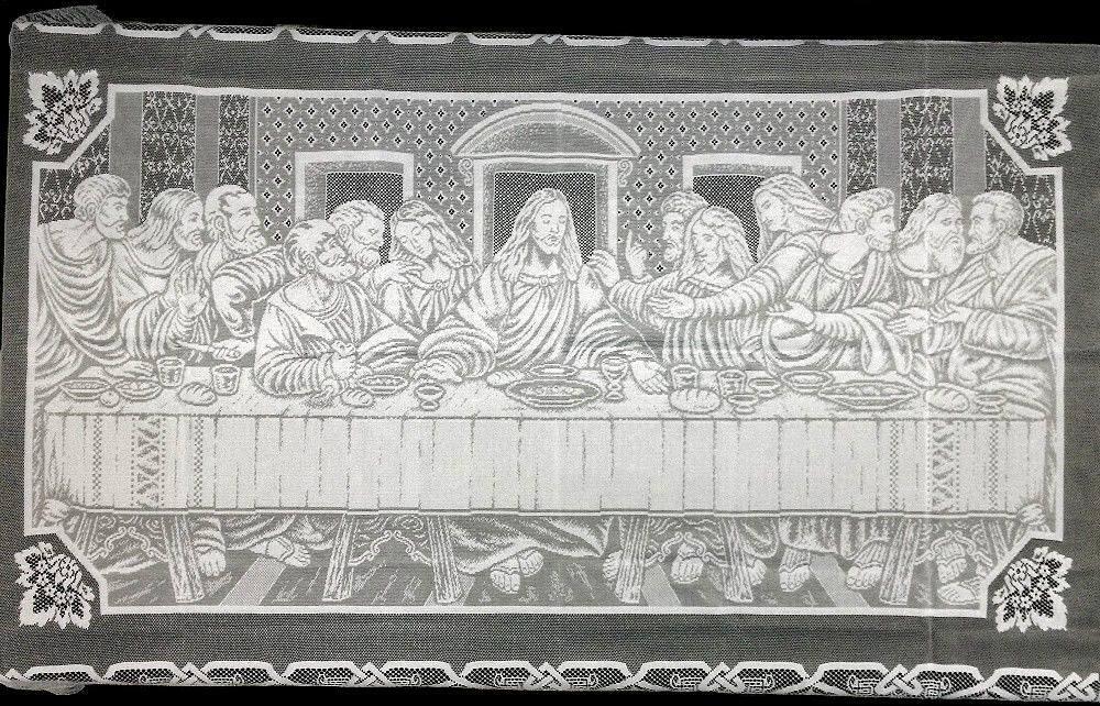 Dentelle Nappe Blanc le Lords Supper 60  X 108  salle à manger Eglise religieux