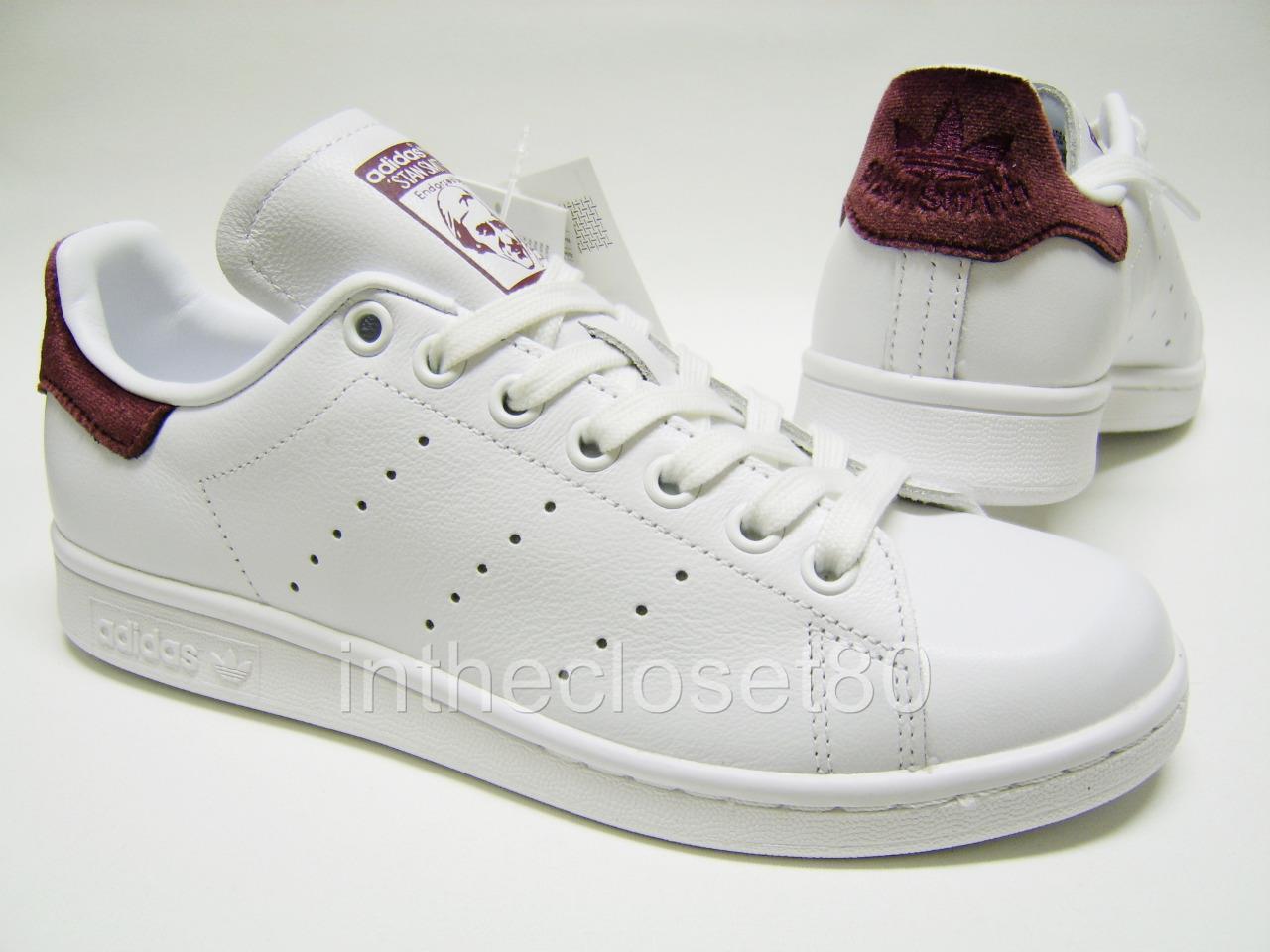 Adidas Stan Smith White Maroon Burgundy Red Velvet Womens Girls Trainers BB2867