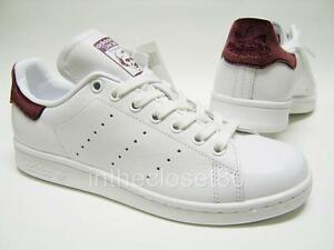 ... Adidas-stan-smith-blanc-marron-rouge-bordeaux-en-