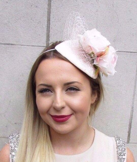 Blush Light Pink Ivory Rose Flower Fascinator Net Hair Headband Wedding Vtg  2892 0f08af5bf40