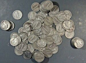 100 {2ROLLS} AVERAGE CIRCULATED MERCURY DIMES