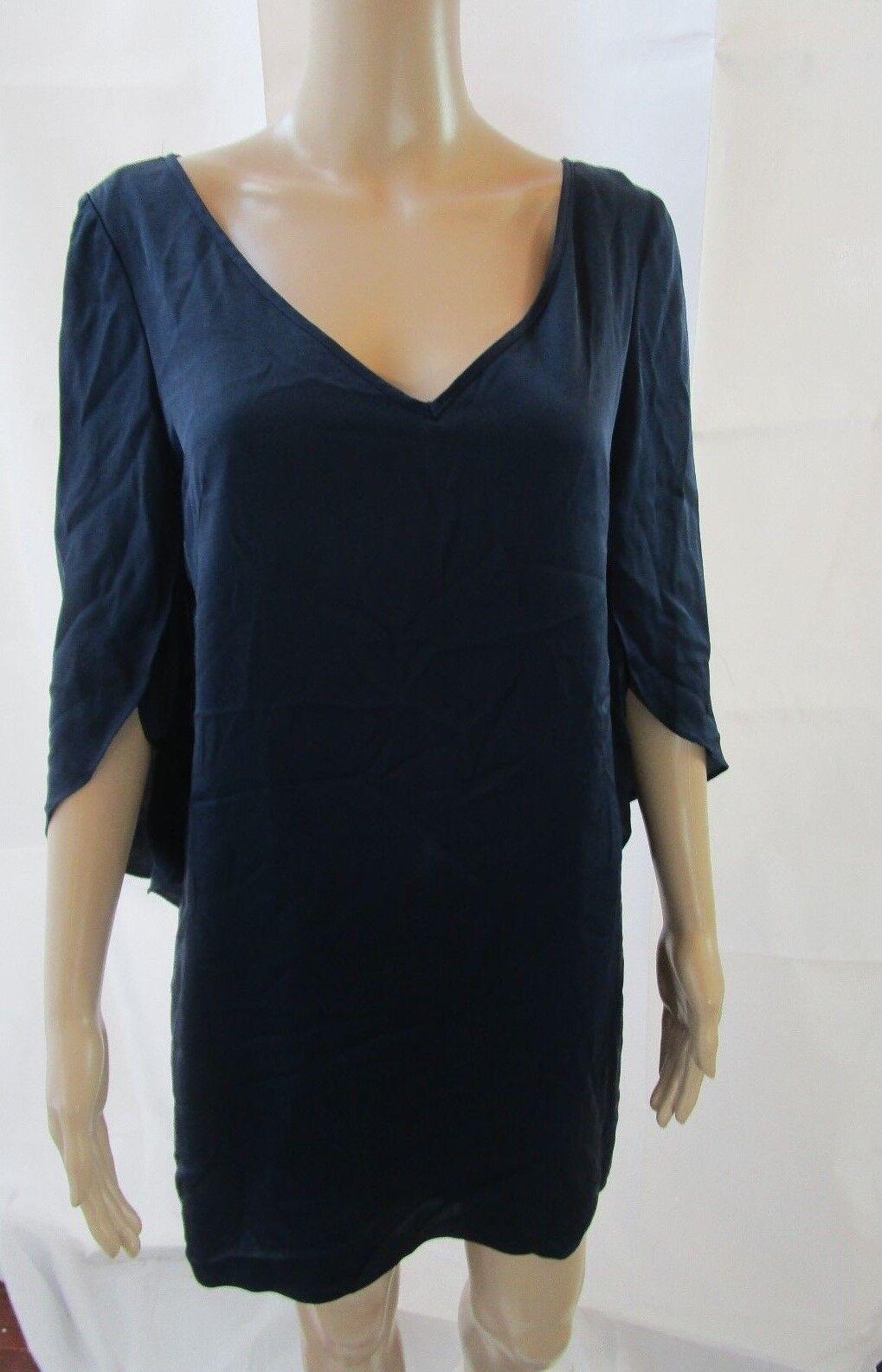 MILLY Navy bluee Butterfly Sleeve Silk Shift Dress Size 6