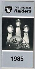 1985 Los Angeles Raiders NFL Football Media GUIDE