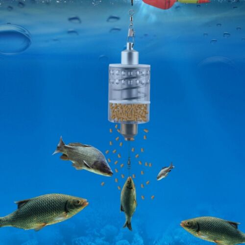 Fishing Feeder Automatic Tackle Stainless Steel Trap Spring Cage Bait Container