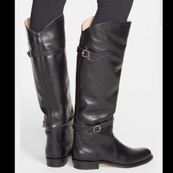Frye Company Black Leather Pull On Dorado Riding Knee High Tall Flat Boots Sz 6