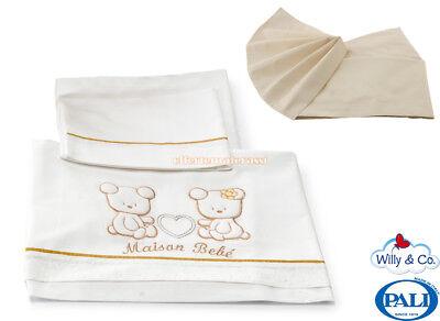 Set Lenzuolo Pali Maison Bebè Bianco + Lenzuolo Inferiore Angoli Willy&co Crema Un Arricchimento E Nutriente Per Il Fegato E Il Rene