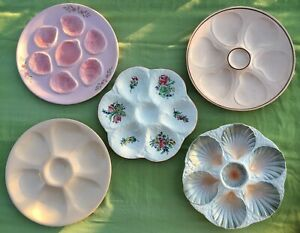 5 Ant French Pink Majolica Oyster Plate Pornic DIGOIN