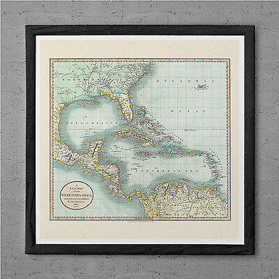 ANTIQUE Map of the WEST INDIES Antique Wall Art Caribbean Map 1799