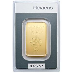Heraeus-20-Gramm-Goldbarren-999-9-Gold-in-Blisterkarte-Neuware
