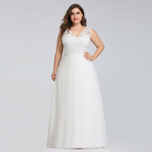 Details about Ever-pretty US White Lace Plus Size Formal Evening Gowns  Homecoming Dresses 7686
