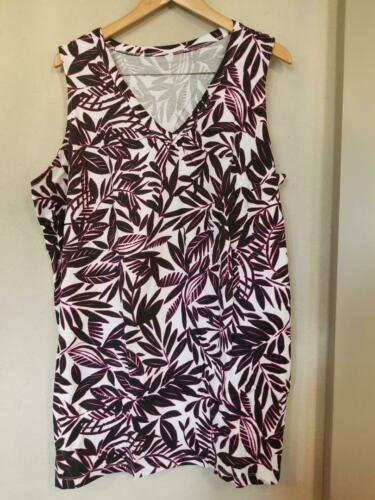 Woman Within Tropical Leaf Print Sleeveless V Neck T Shirt 2X 3X 4X 5X