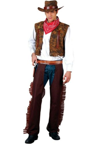 Adult WESTERN COWBOY Wild West Indians Fancy Dress Costume Mens Outfit Rodeo