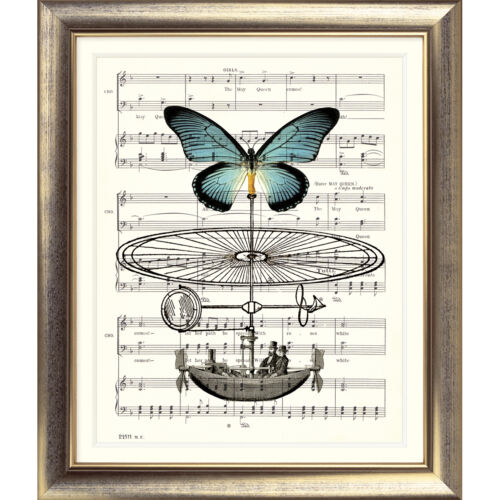 ART PRINT ORIGINAL VINTAGE MUSIC SHEET Page BOAT BUTTERFLY Old Picture Poster