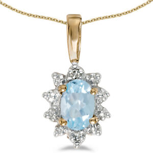 10k-Yellow-Gold-Oval-Aquamarine-And-Diamond-Pendant-with-18-034-Chain
