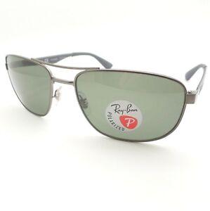691bf4492b8 Ray Ban RB 3528 029 9a Matte Gunmetal Green Polarized Sunglasses New ...