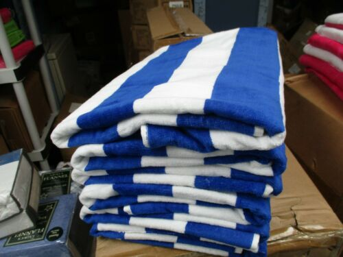 6 Pack Large Beach Resort Pool Towels in Cabana Stripe Blue 30x60 100/% COTTON