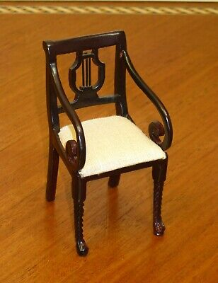 MAHOGANY LOVELY UPHOLSTERED STOOL DOLL HOUSE MINIATURE