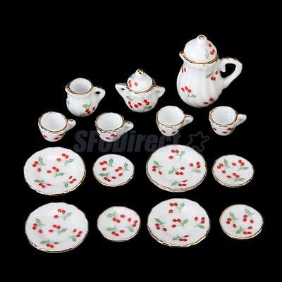 15 Picece Doll House Deluxe Miniature China Coffee set Red Cherries 1/12 scale