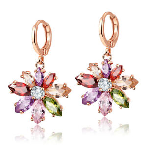 Charm-Mix-Color-Morganite-Topaz-Gem-Flower-Shape-Rose-Gold-Women-Jewelry-Earring