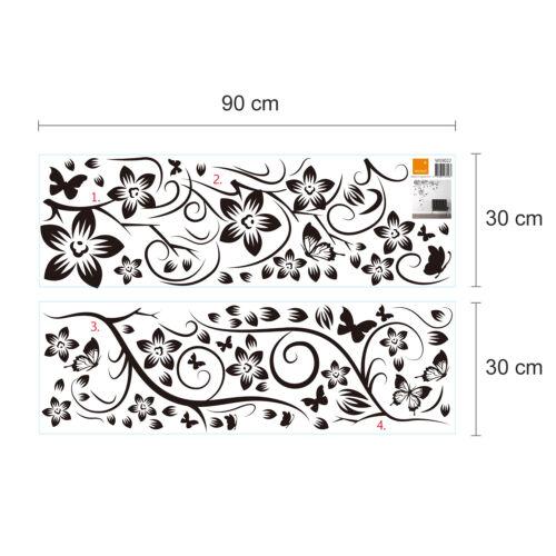 Autocollant Mural Decal Walplus New Énorme Papillon Vigne Avec Noir Dandelion Fleur