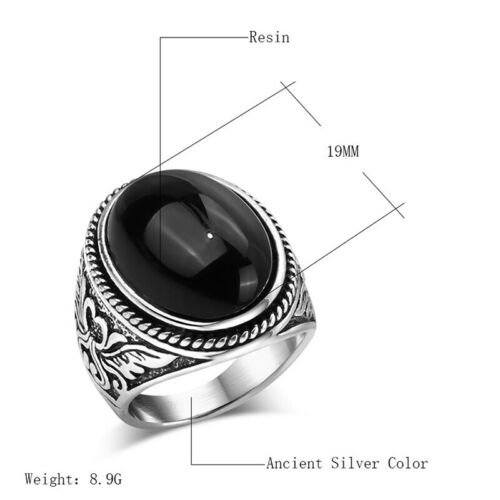 Vintage Ring For Women Men Oval White Natural Stone Gothic Jewelry Gifts MH