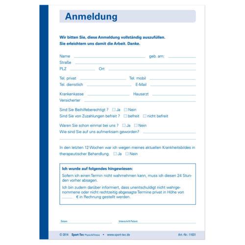 Anmeldung Vordruck Behandlung Therapie Anmeldeformular 5Blöcke à 50 Blatt DIN A6