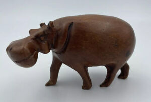 Vintage Wood Hippo Hand Carved Hippopotamus Statue Ornament Figure Wooden br5