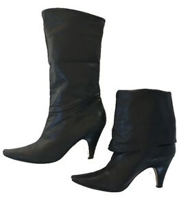 e10e6711efce Image is loading Marc-Fisher-Black-Leather-Fold-Down-Boots-Low-