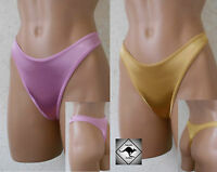 Ladies Shiny Satin G-String Thong. Pink ,Gold or Black. Sexy High Cut. Size 12