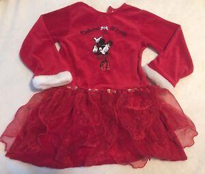 Minnie Mouse Christmas Dress.Details About Disney Ballerina Minnie Mouse Christmas Holiday One Piece Dress Size 5