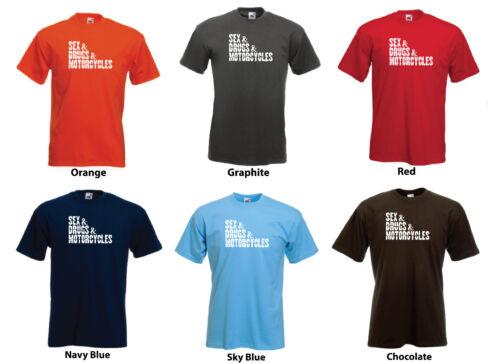 "/""Sex /& Drugs /& MOTOS/'s Funny Homme Moto Custom T-Shirt Tee"