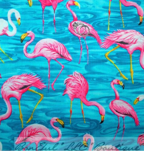 BonEful Fabric FQ Cotton Aqua Blue Water Pink Flamingo Bird Florida Beach Flower
