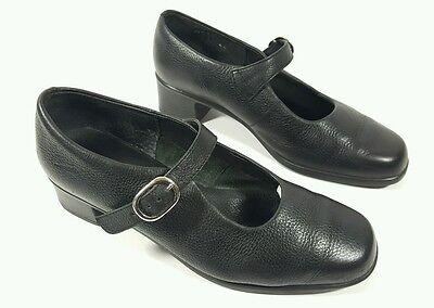 K Zapatos Negro Bolso De Cuero Mid bloque talón Mary Jane Zapatos Uk 4.5