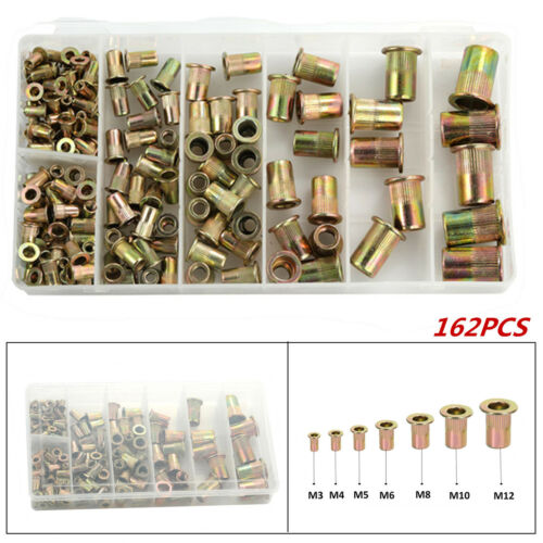 165pcs Mixed Zinc Plated Carbon Steel Rivet Nut Threaded Insert Nutsert M4 5 6 8