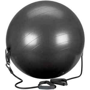 Avento-Fitness-Ball-with-Resistance-Tubes-65cm-Black-Exercise-Yoga-Equipment