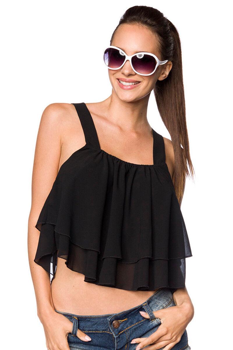 SEXY TOP NERO taglia S M - L XL ampio con balze canotta maglia GLAMOUR fashion