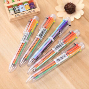 6 in 1 Color Ball Point Pen Multi-color Ballpoint Pens Office School Stationery