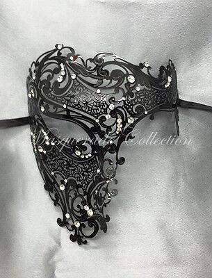 New Black Phantom Laser Cut Venetian Mask Masquerade Metal Men Skull Filigree