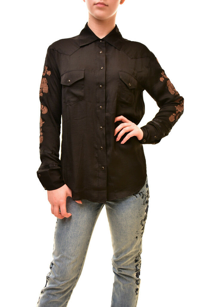 One Teaspoon Woherren Authentic Long Sleeve Shirt schwarz S RRP  BCF85