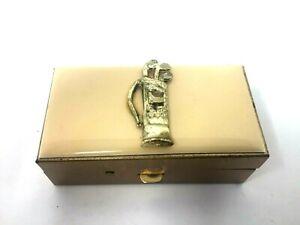 Vintage-Gold-Metal-Sewing-Kit-w-Golf-Bag-amp-Clubs-Travel-Metal-Box-Sewing-Kit