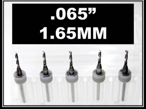 """.065/"""" 1//8/"""" Shank Carbide Drill Bits FIVE Pcs Wood Plastic Metal cnc R 1.65mm"""